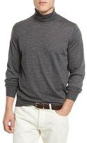 Brunello Cucinelli Fine-Gauge Turtleneck Sweater, Lead FG