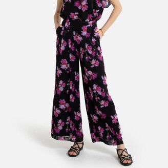 """La Redoute Collections Wide Leg Trousers in Floral Print, Length 29.5"""""""