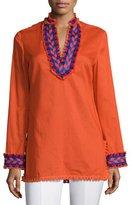 Tory Burch Samba Fringe-Trim Cotton Tunic Top, Orange