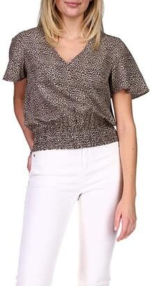 MICHAEL Michael Kors Mini Cheetah Smocked Short Sleeve (Dark Camel) Women's Blouse