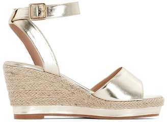 La Redoute Collections Plus Wide Fit Metallic Wedge Sandals