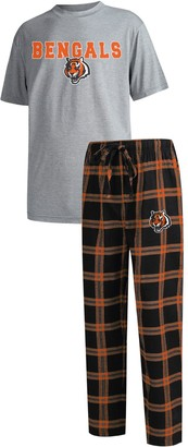 Men's Concepts Sport Black/Heathered Gray Cincinnati Bengals Big & Tall Troupe T-Shirt & Pants Sleep Set