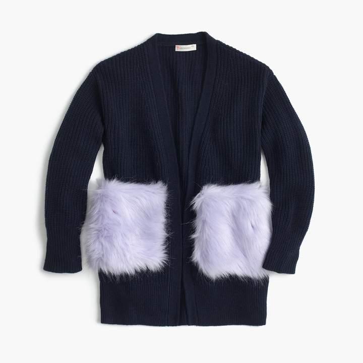 J.Crew Girls' fur-pocket cardigan sweater