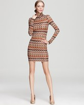 Long Sleeve Dress - Turtleneck Printed