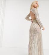 Starlet deep V-Neck embellished sheer fishtail maxi dress