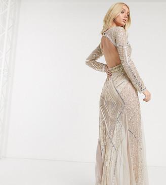 Starlet deep V-Neck embellished sheer fishtail maxi dress-Beige