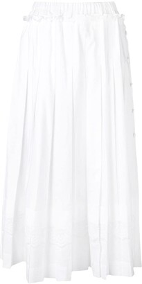 Simone Rocha Pleated Skirt With Broiderie Anglaise Trim