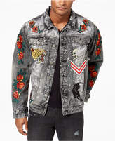 Reason Men's Black Acid Washed Patched Denim Jacket