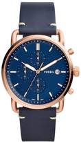 Fossil Men's 'The Commuter' Quartz Stainless Steel and Leather Casual Watch, Color: (Model: FS5404)