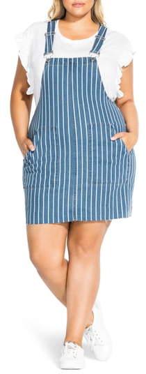 City Chic Stripe Denim Jumper Dress