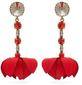 Marni Flower Drop Crystal-embellished Clip Earrings - Womens - Red