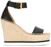 See by Chloe espadrille wedge sandals - women - Raffia/Calf Leather/Leather/rubber - 40