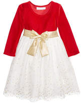Bonnie Baby Stretch Velvet and Glitter Mesh Dress, Baby Girls