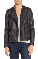 Halogen Drape Front Leather Jacket (Regular & Petite)