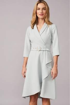 Phase Eight Womens Light Blue Jaiden Belted Flared Skirt Dress - Green
