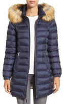 Kate Spade Women's Bow Back Down Coat With Faux Fur Trim