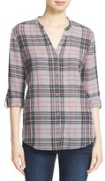 Soft Joie 'Dane' Plaid Split Neck Roll Sleeve Shirt