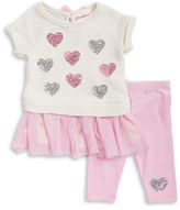 Flapdoodles Girls 2-6x Sequined Knit Dress and Leggings Set