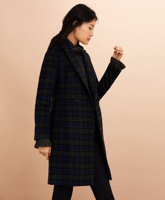 Brooks Brothers Black Watch Tartan Wool-Blend Double-Breasted Coat