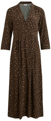 Vila Leopard Print Maxi Dress with Long Sleeves