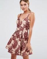 Style Stalker Stylestalker Plunge Neck Embroidered Dress with Full Skirt