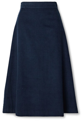 ARoss Girl x Soler Alma Cotton-corduroy Midi Skirt - Navy