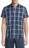 Theory Rammis Short-Sleeve Plaid Shirt, Outer Multi