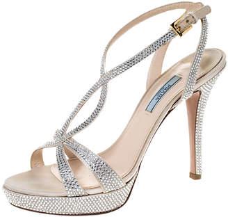 Prada Beige Crystal Embellished Satin Ankle Strap Platform Sandals Size 38.5