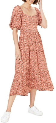 French Connection Midi Floral Puff Sleeve Dress
