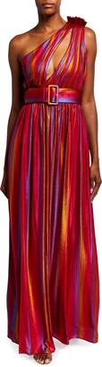 retrofete Andrea One-Shoulder Belted Maxi Dress