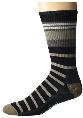 Smartwool Hike Light Striped Crew (Black) Men's Crew Cut Socks Shoes