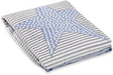 "Just Born Star"" Striped Plush Blanket in Blue/Grey"