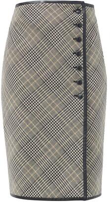 Saint Laurent Leather-trim Prince Of Wales-check Midi Skirt - Grey White