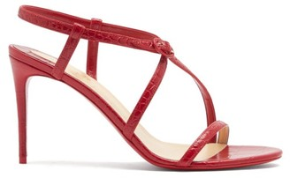 Christian Louboutin Selima Crocodile-effect Leather Sandals - Red