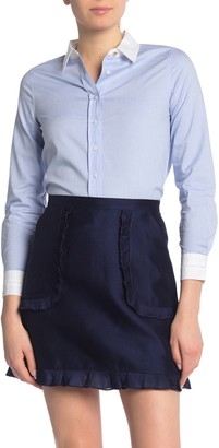 Draper James Contrast Collar Classic Button Down Top