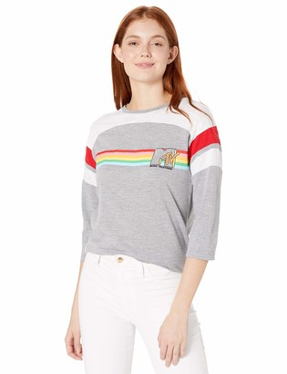 MTV Women's Rainbow 3/4-Sleeve Color Block Tee-Juniors