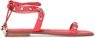 Red(V) Studded Textured-leather Sandals