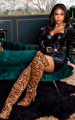 PrettyLittleThing Black PU Puff Shoulder Belt Detail Bodycon Dress