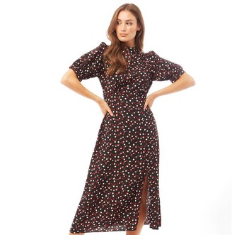 Brave Soul Womens Chai All Over Printed Midi Dress Black/Red Print