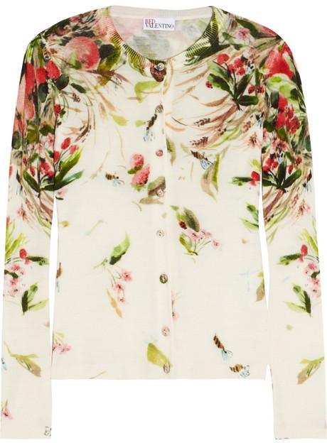 RED Valentino Floral-print wool cardigan