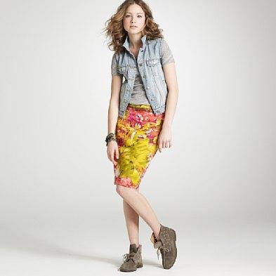 J.Crew Impressionist pencil skirt