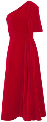 Emilia Wickstead Jenna One-shoulder Gathered Cotton-velvet Midi Dress