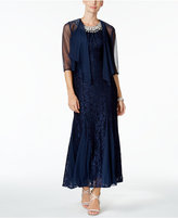 R & M Richards Embellished Glitter Lace Gown & Jacket