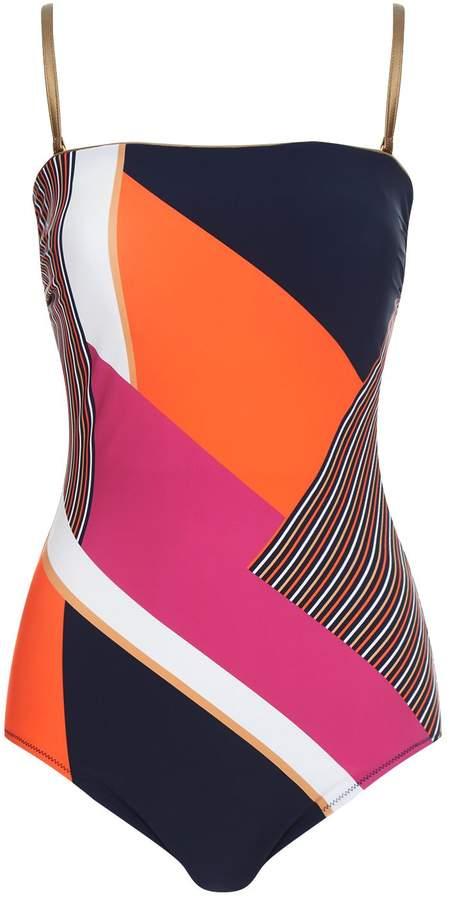 Gottex Geometric Stripe Swimsuit
