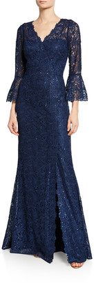 Rickie Freeman For Teri Jon V-Neck Trumpet-Sleeve Embellished Lace Gown w/ Slit