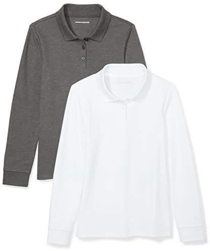f864170bb9951 Big Girls' 2-Pack Long-Sleeve Interlock Polo Shirt