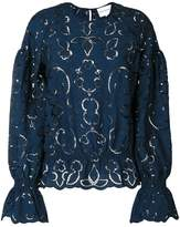 Perseverance London embroidered cut-out blouse