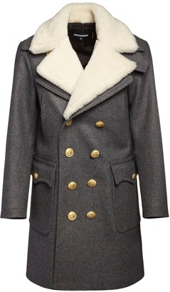 DSQUARED2 Double Breast Wool Pea Coat W/ Shearling