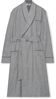 Sleepy Jones Glenn Checked Cotton-Poplin Robe