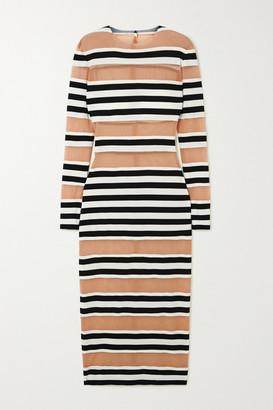 Norma Kamali Striped Stretch-jersey And Mesh Midi Dress